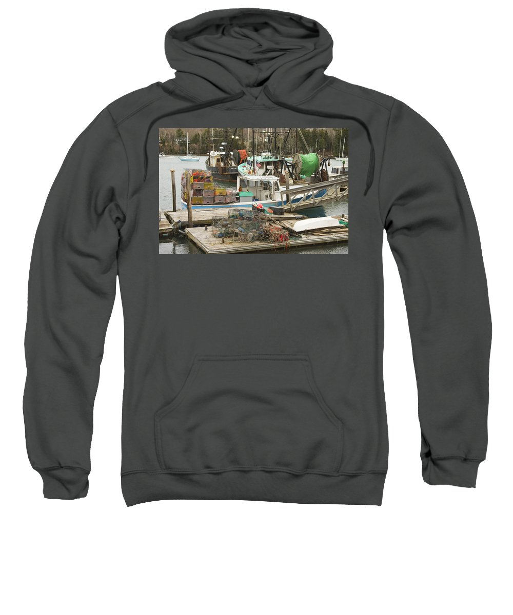 Maine Sweatshirt featuring the photograph South Bristol And Fishing Boats On The Coast Of Maine by Keith Webber Jr