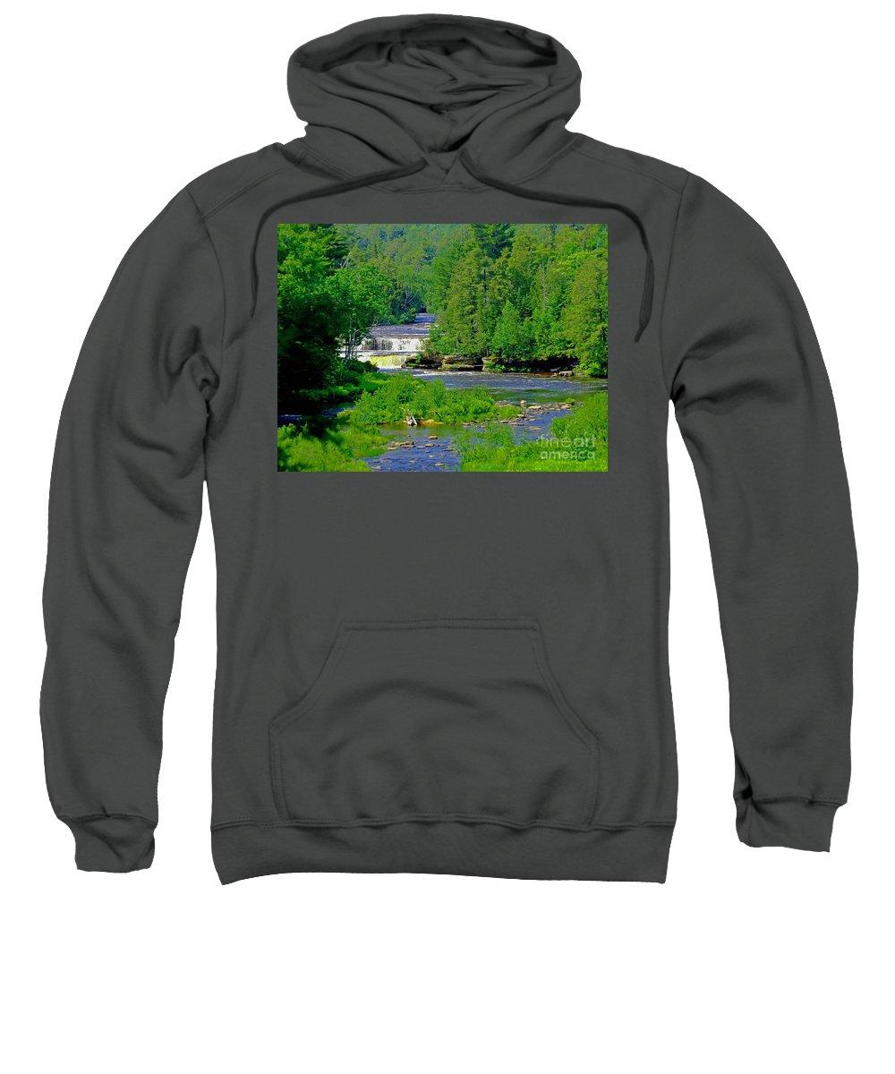 Michigan Sweatshirt featuring the photograph Tahquamenon Falls by Elizabeth Stone