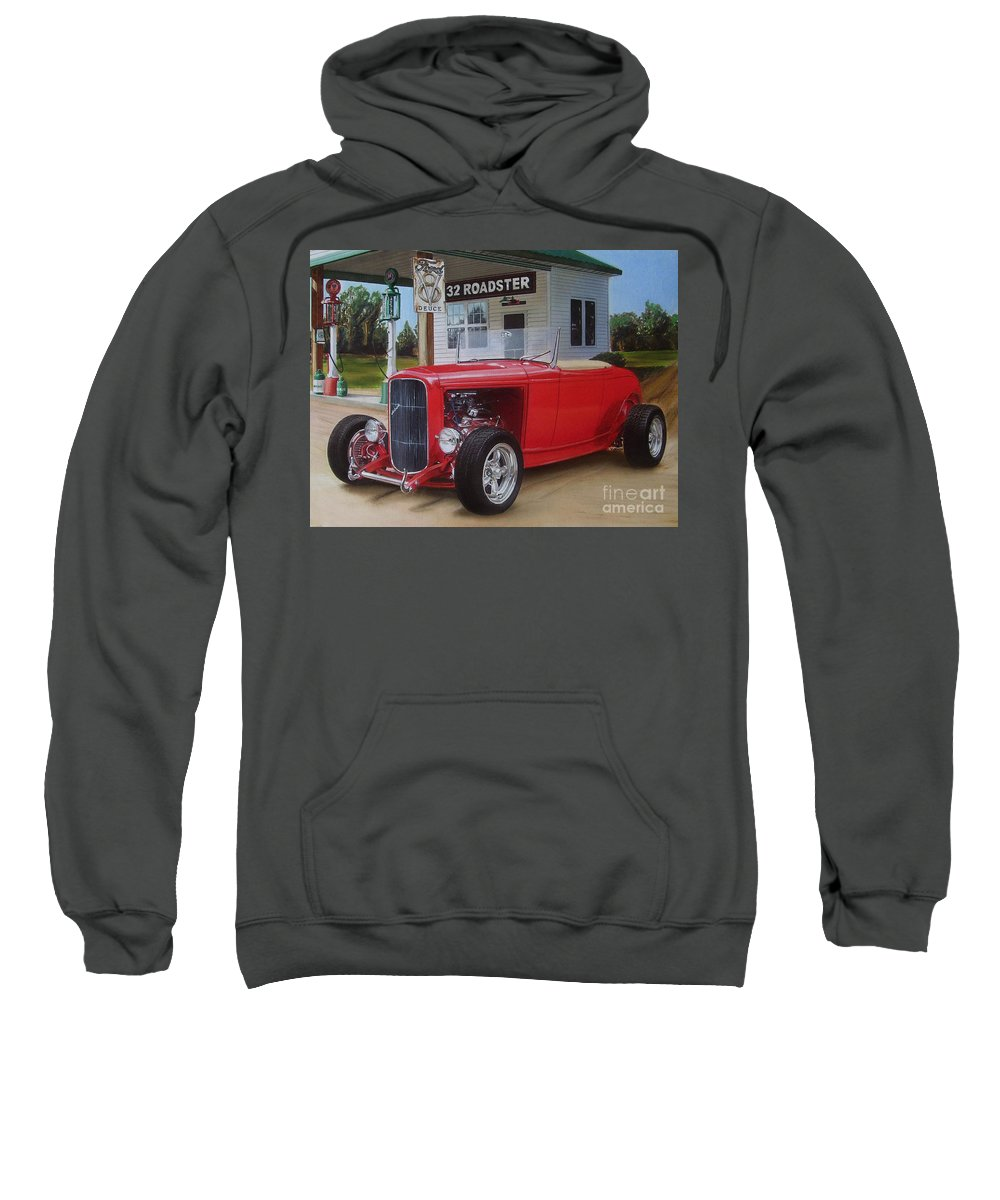 1932 Sweatshirt featuring the drawing 32 Ford At Filling Station by Paul Kuras