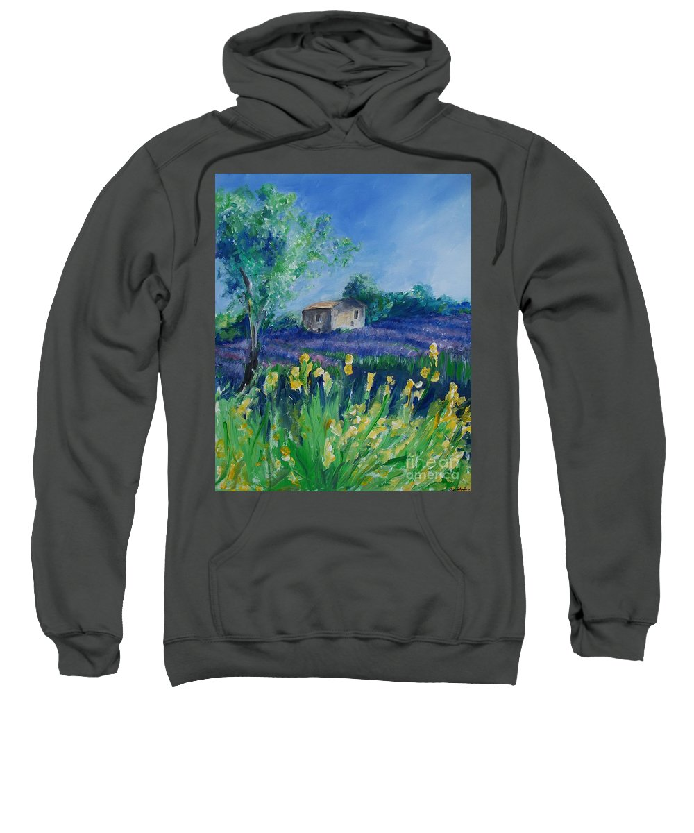 Provence Sweatshirt featuring the painting Provence Lavender Field by Eric Schiabor
