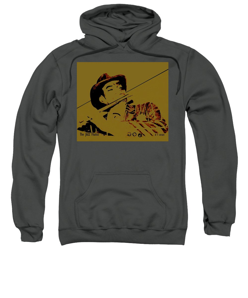 Sweatshirt featuring the painting The Jazz Flutist by Diane Strain