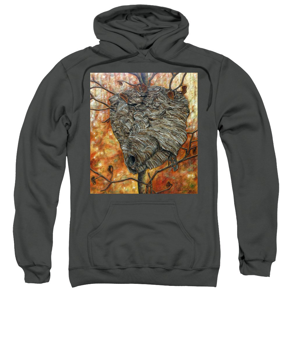 Wasp. Nature Sweatshirt featuring the painting Wasp Nest by Elaine Booth-Kallweit