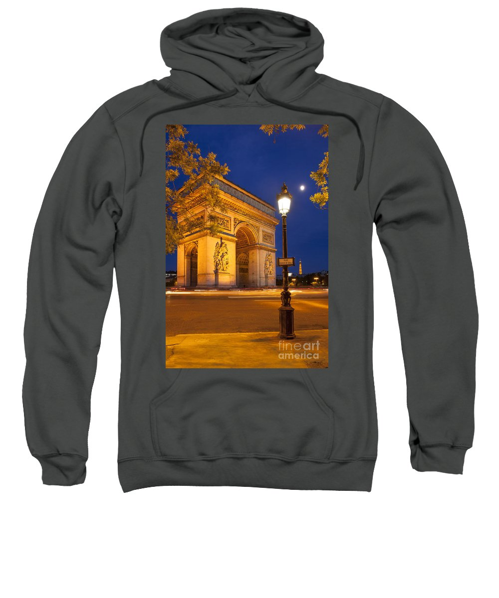 Arc Sweatshirt featuring the photograph Twilight At Arc De Triomphe by Brian Jannsen