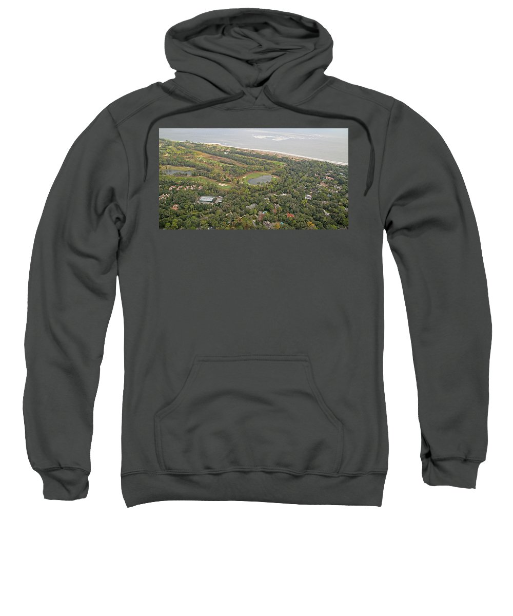 Jekyll Sweatshirt featuring the photograph East Coast Aerial Near Jekyll Island by Betsy Knapp