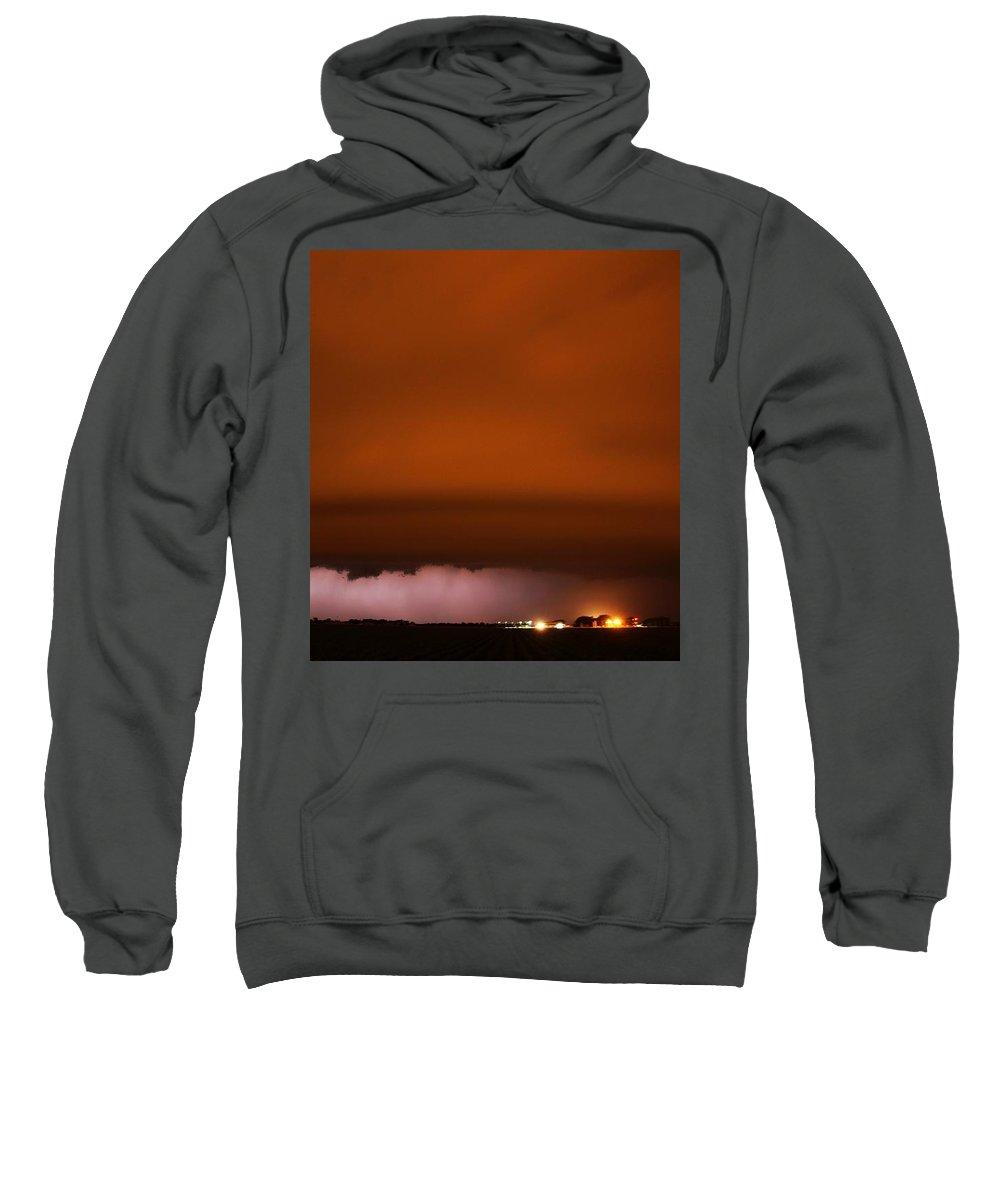 Stormscape Sweatshirt featuring the photograph Late Night Nebraska Shelf Cloud by NebraskaSC
