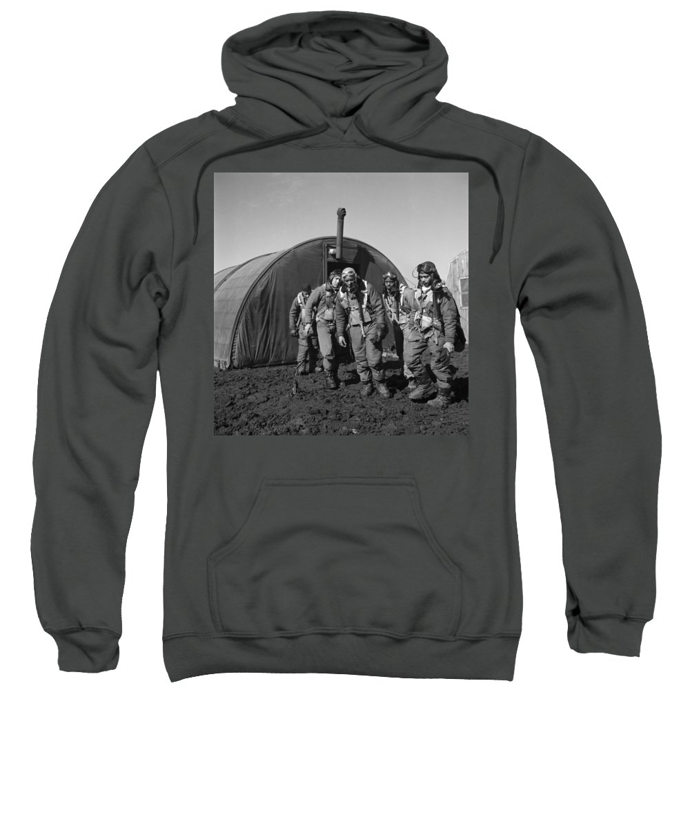 1945 Sweatshirt featuring the photograph Wwii: Tuskegee Airmen, 1945 by Granger