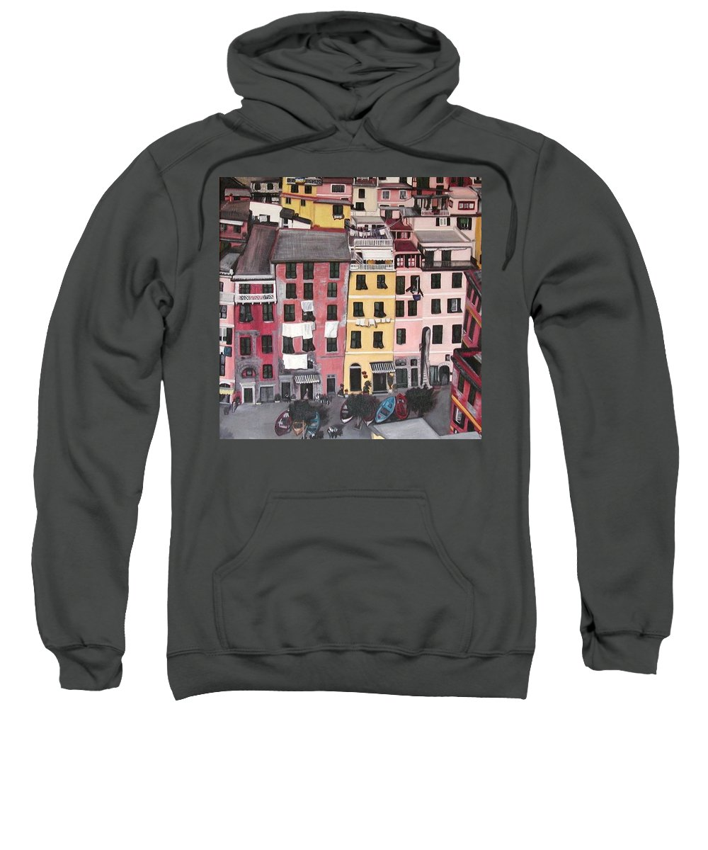 Vernazza Sweatshirt featuring the painting A Bird's Eye View Of Cinque Terre by Quin Sweetman