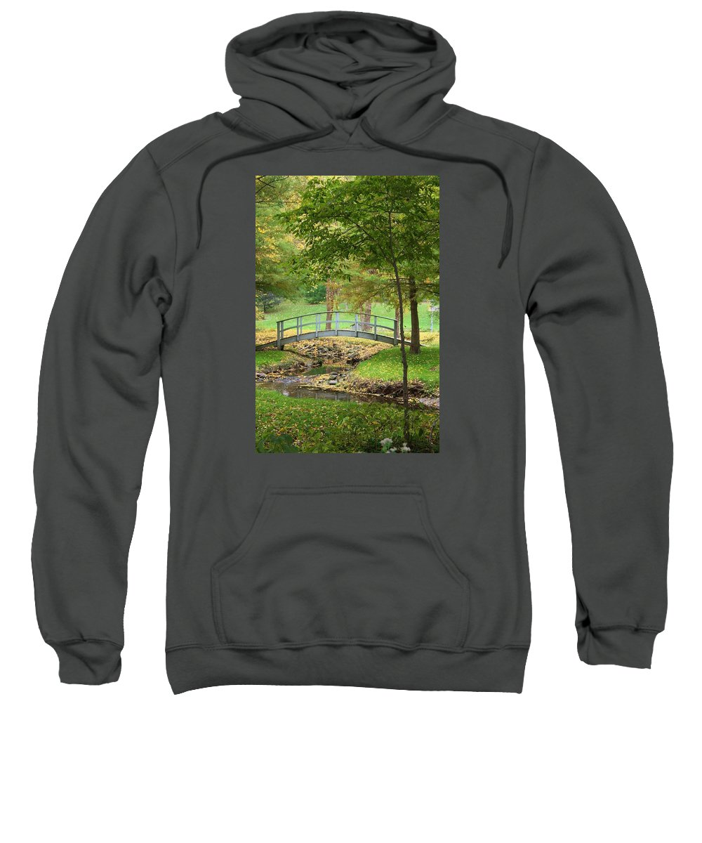 Sinnissippi Park Sweatshirt featuring the photograph A Bridge To Peacefulness by Bruce Bley