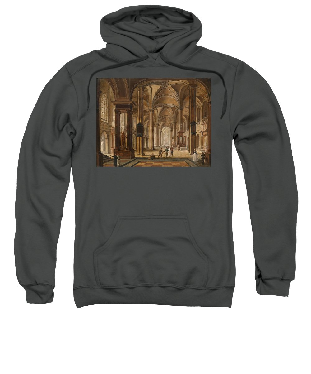 Christian Stoecklin Sweatshirt featuring the painting A Church Interior With Elegant People by Christian Stoecklin