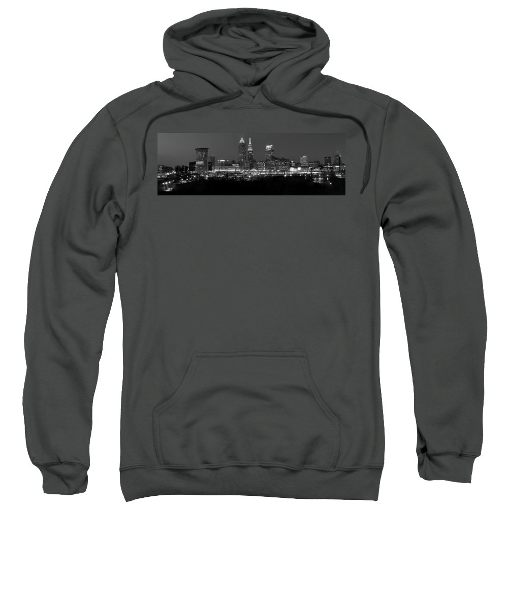 Abstract Sweatshirt featuring the photograph A Cleveland Black And White Night by Frozen in Time Fine Art Photography