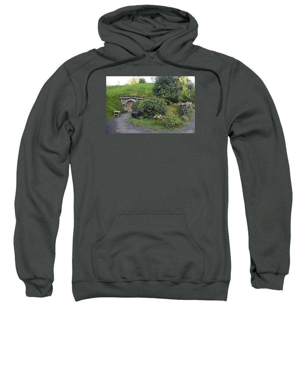 Hobbiton Sweatshirt featuring the photograph A Cosy Hobbit Home In The Shire by Venetia Featherstone-Witty