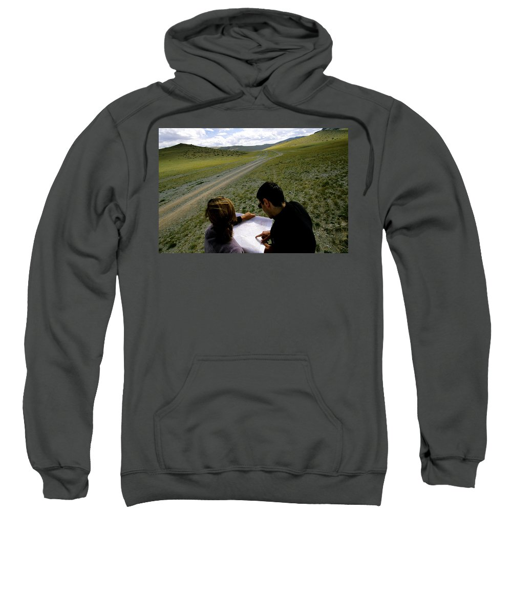 Altai Mountains Sweatshirt featuring the photograph A Couple Hiking Across The Atlai by Olivier Renck