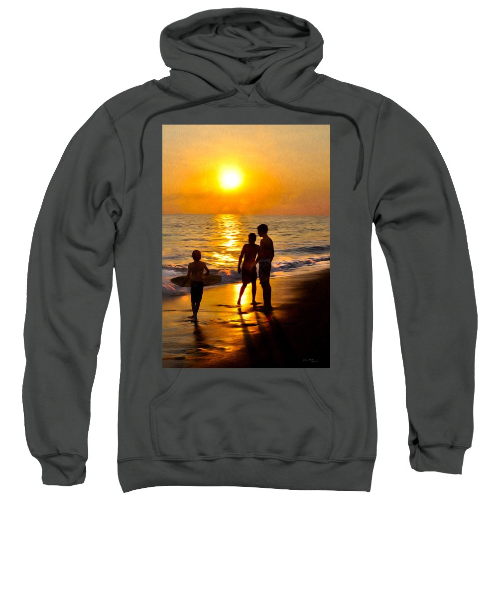 Beach Sweatshirt featuring the painting A Day At The Beach by Tom Bell