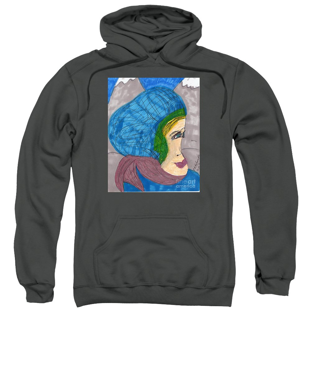 Blue Hat Pink Scarf Mountain Background Sweatshirt featuring the mixed media A Few Of My Favorite Things by Elinor Helen Rakowski