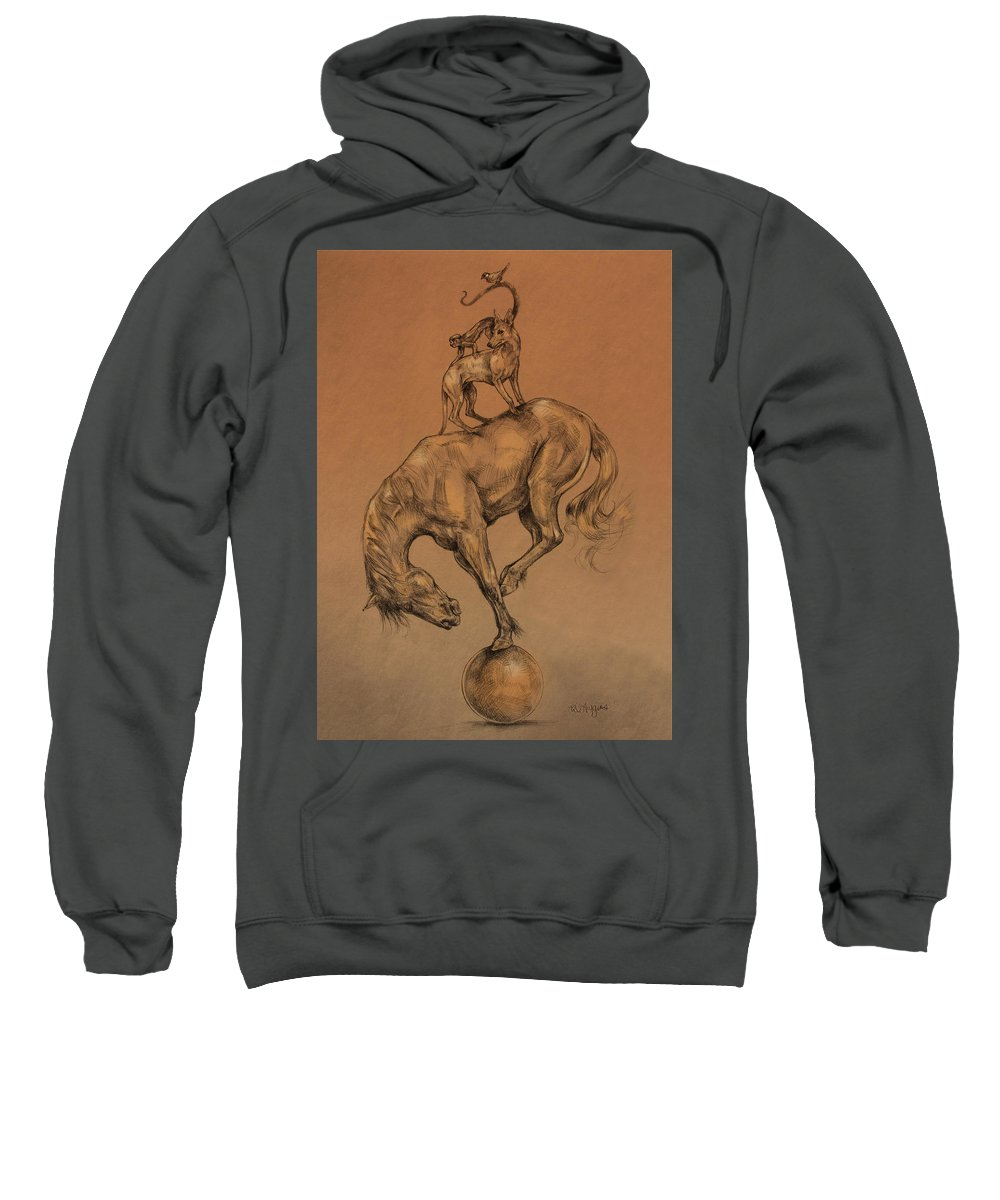 Horse Sweatshirt featuring the drawing A Fine Balance by Derrick Higgins