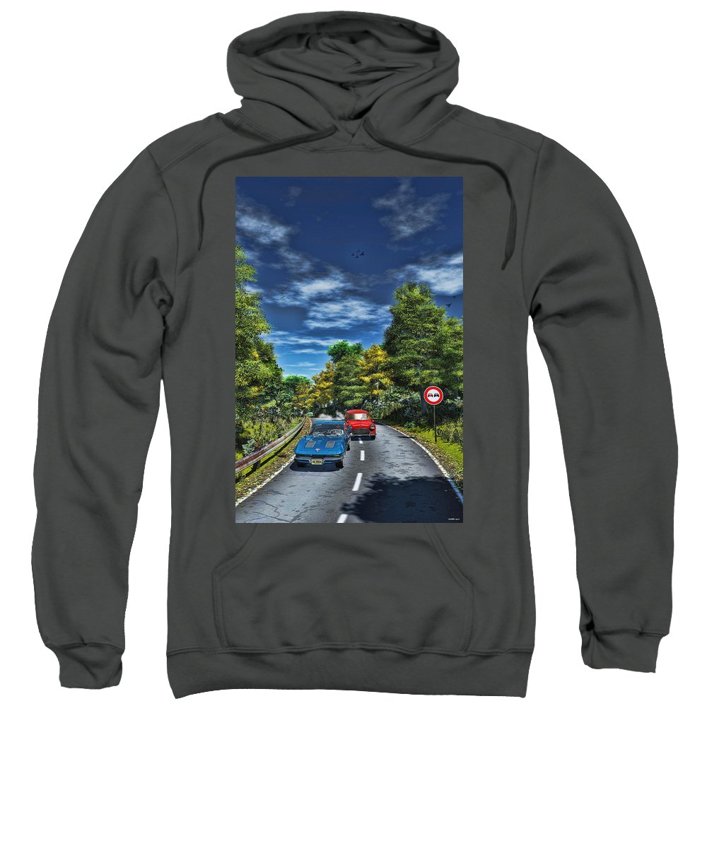 Auto Sweatshirt featuring the digital art A Game Of Tag by Ken Morris