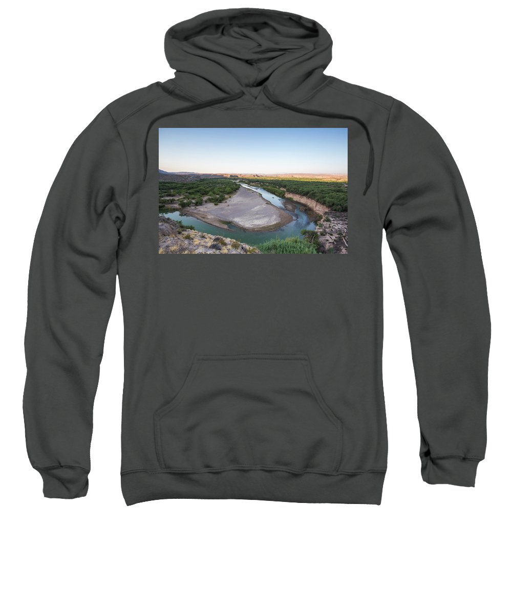 Usa Sweatshirt featuring the photograph A Green River Curves Around A Deep Bend by David Hanson