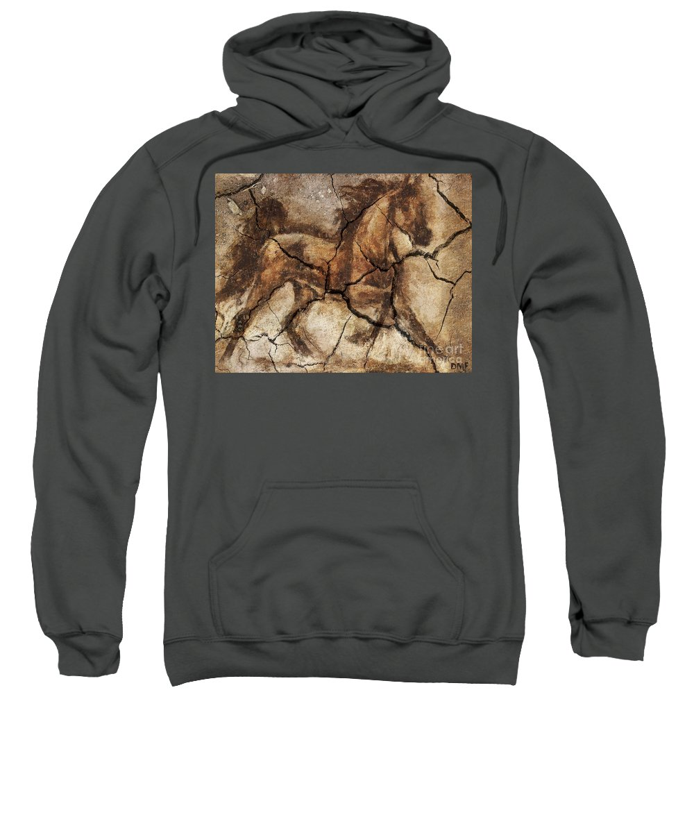 Animal Sweatshirt featuring the drawing A Horse - Cave Art by Dragica Micki Fortuna