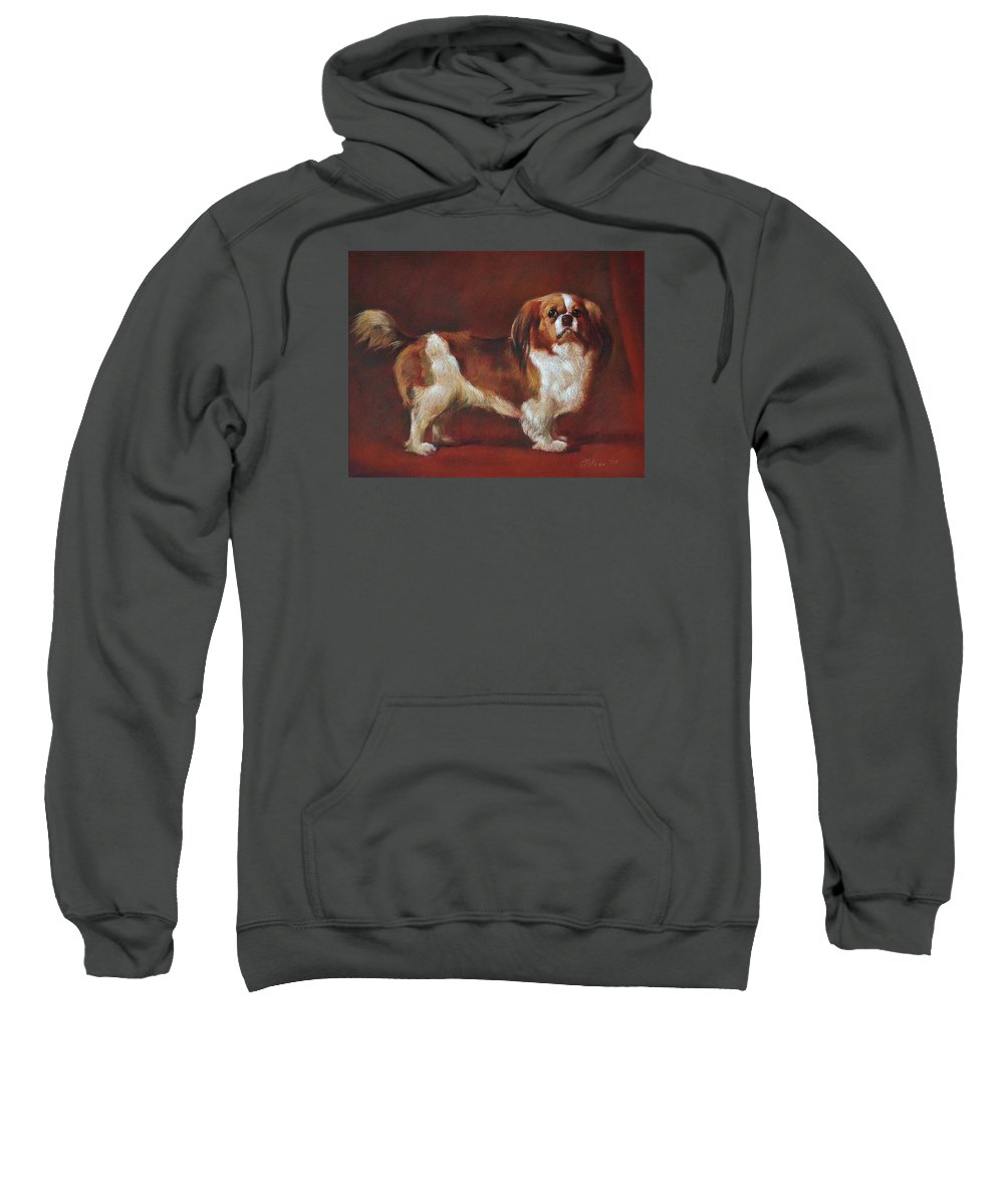 Pastel Sweatshirt featuring the pastel A King Charles Spaniel by Iliyan Bozhanov