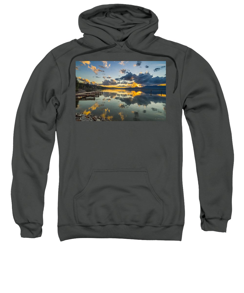 Lake Sweatshirt featuring the photograph A Lake Pend Oreille Sunset - 120601a-040 by Albert Seger