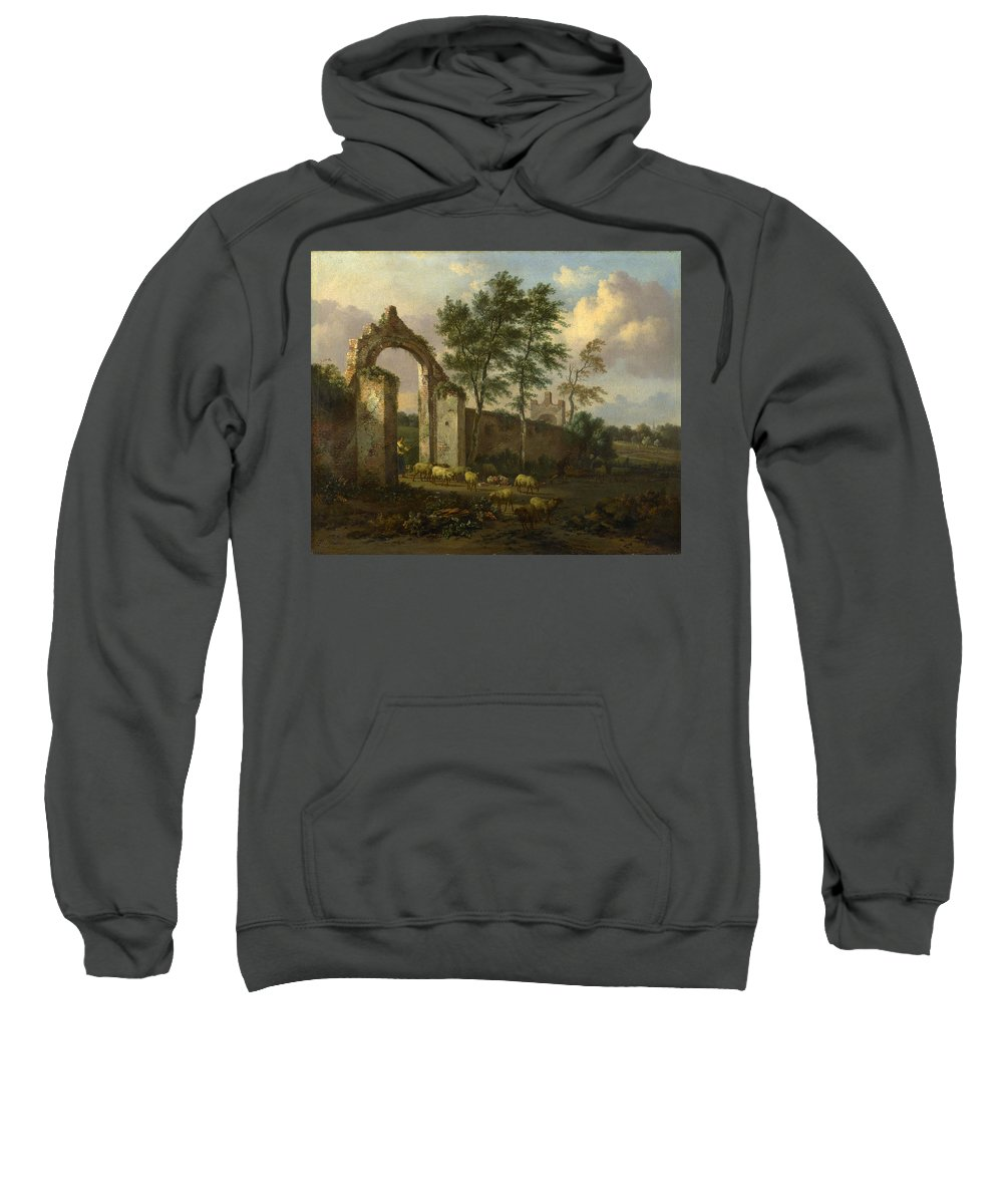 Jan Wijnants Sweatshirt featuring the painting A Landscape With A Ruined Archway by Jan Wijnants