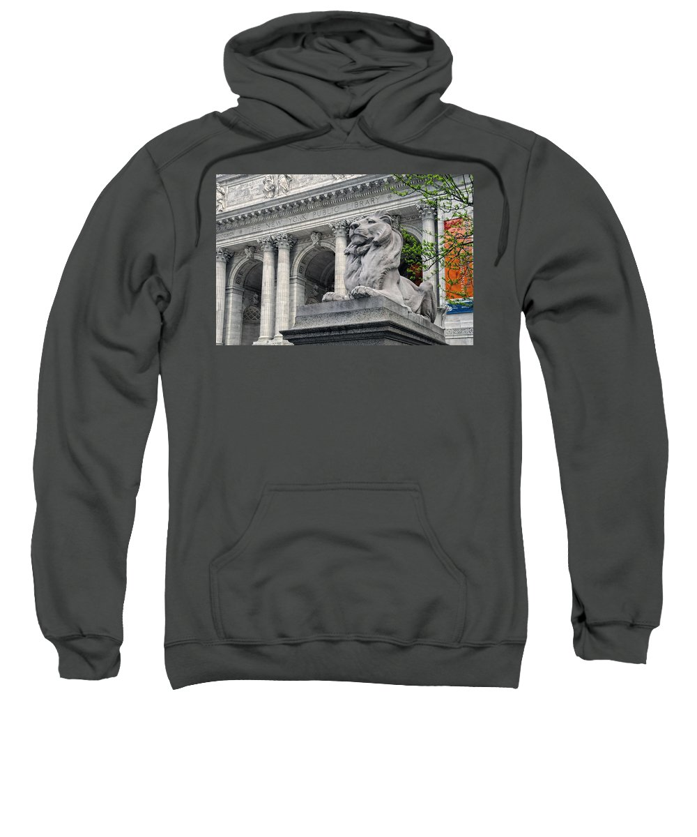 The New York Public Library Sweatshirt featuring the photograph A Lion Called Fortitude by Dave Mills