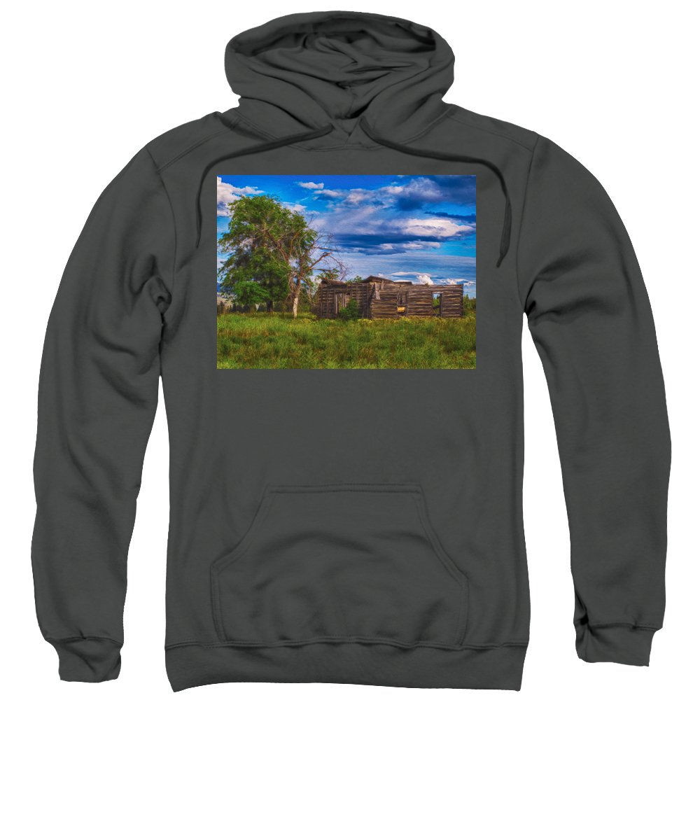 North Cascades Sweatshirt featuring the painting A Moment In Time by Omaste Witkowski
