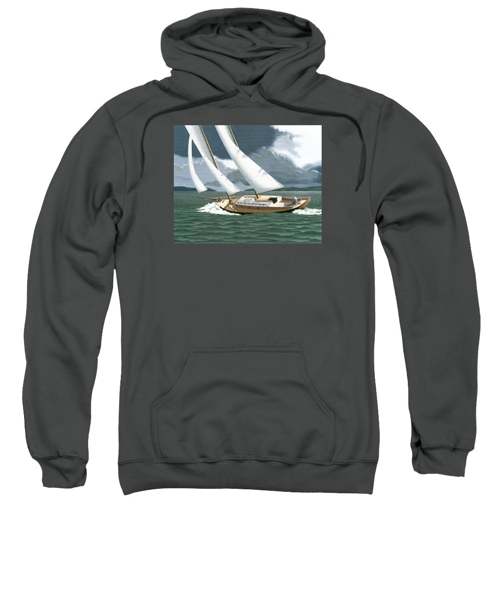 Gulf Islands Sweatshirt featuring the painting A passing squall by Gary Giacomelli