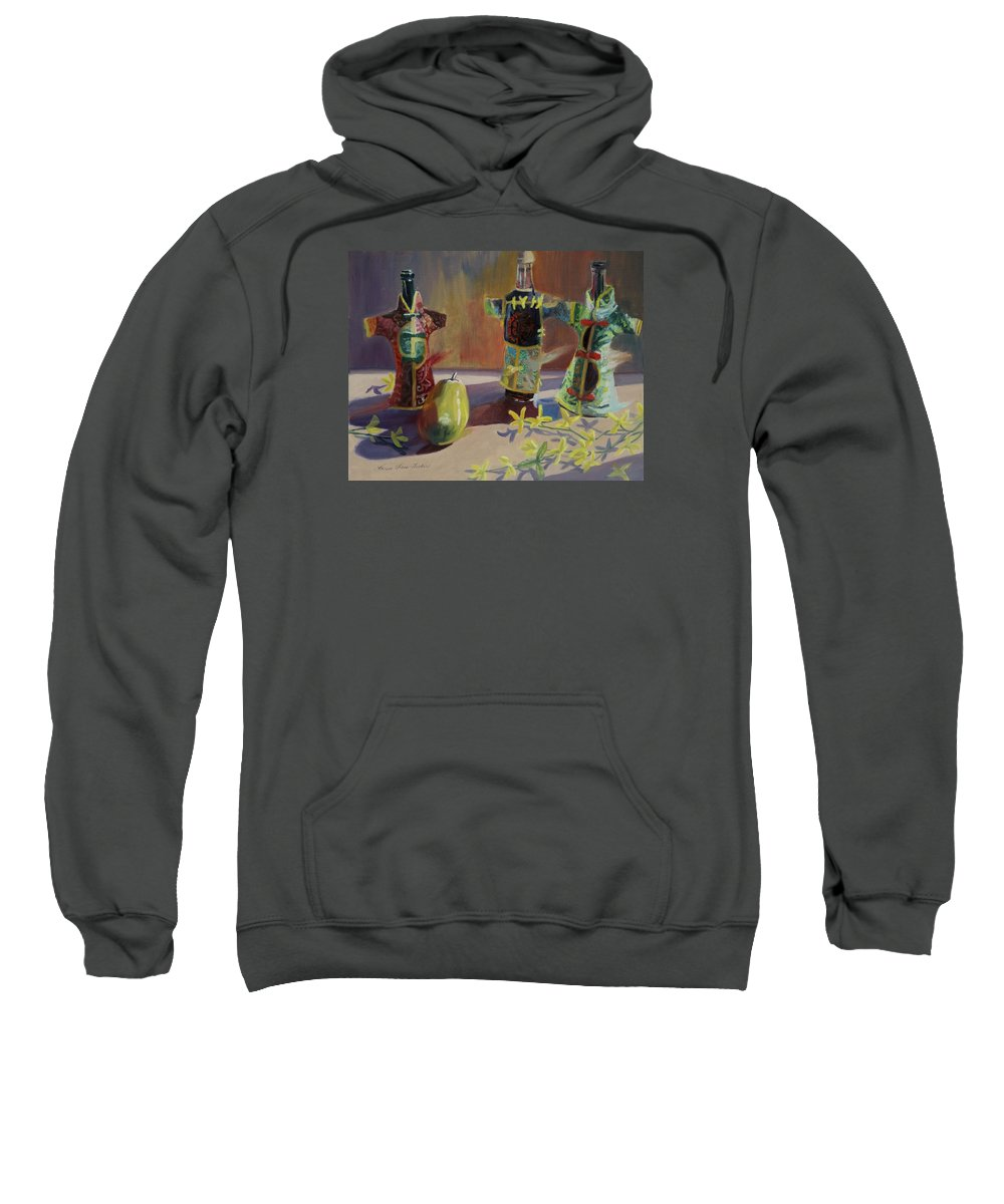 Oil Sweatshirt featuring the painting A Pear And Three Of A Kind by Karen Fess