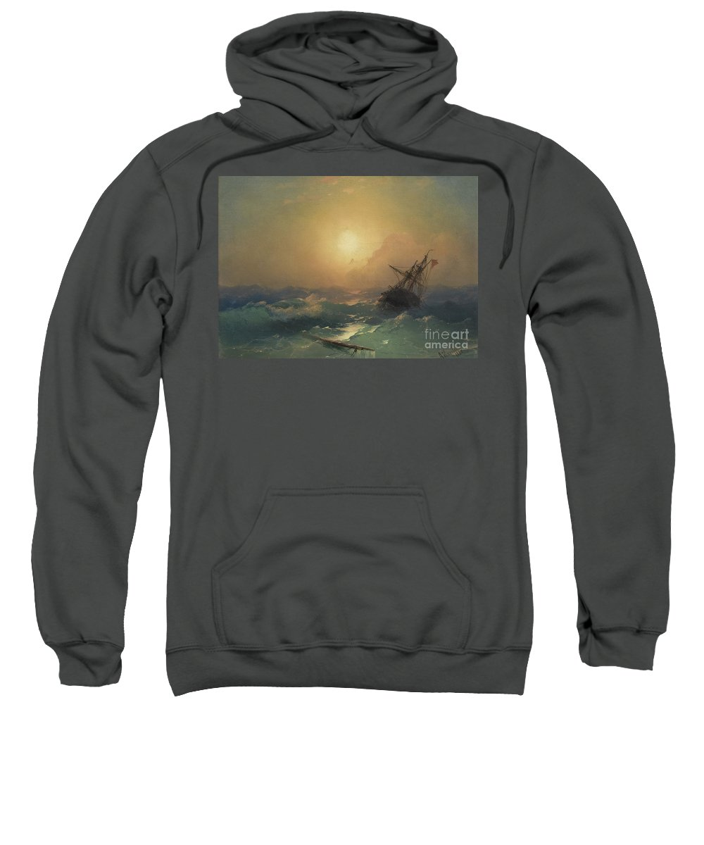 Sweatshirt featuring the painting A Ship In Distress by Viktor Birkus