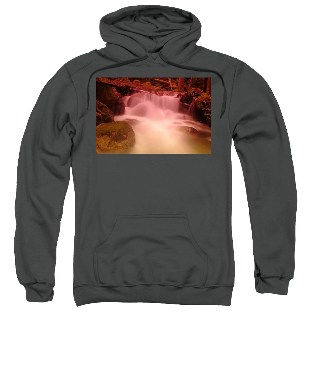 Waterfalls Sweatshirt featuring the photograph A Small Waterfall Along The Old North Cascade Highway by Jeff Swan