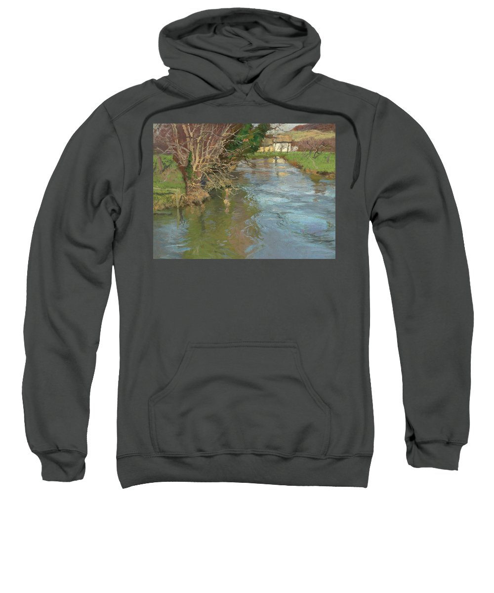 Fritz Thaulow Sweatshirt featuring the painting A Stream In Spring by Fritz Thaulow