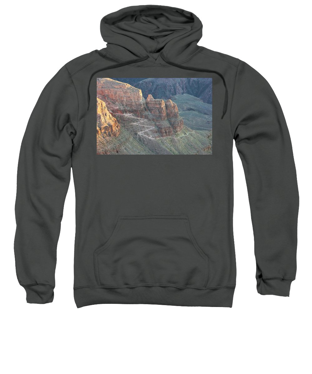 Arizona Sweatshirt featuring the photograph A Trail Winds Its Way Down A Steep by Whit Richardson
