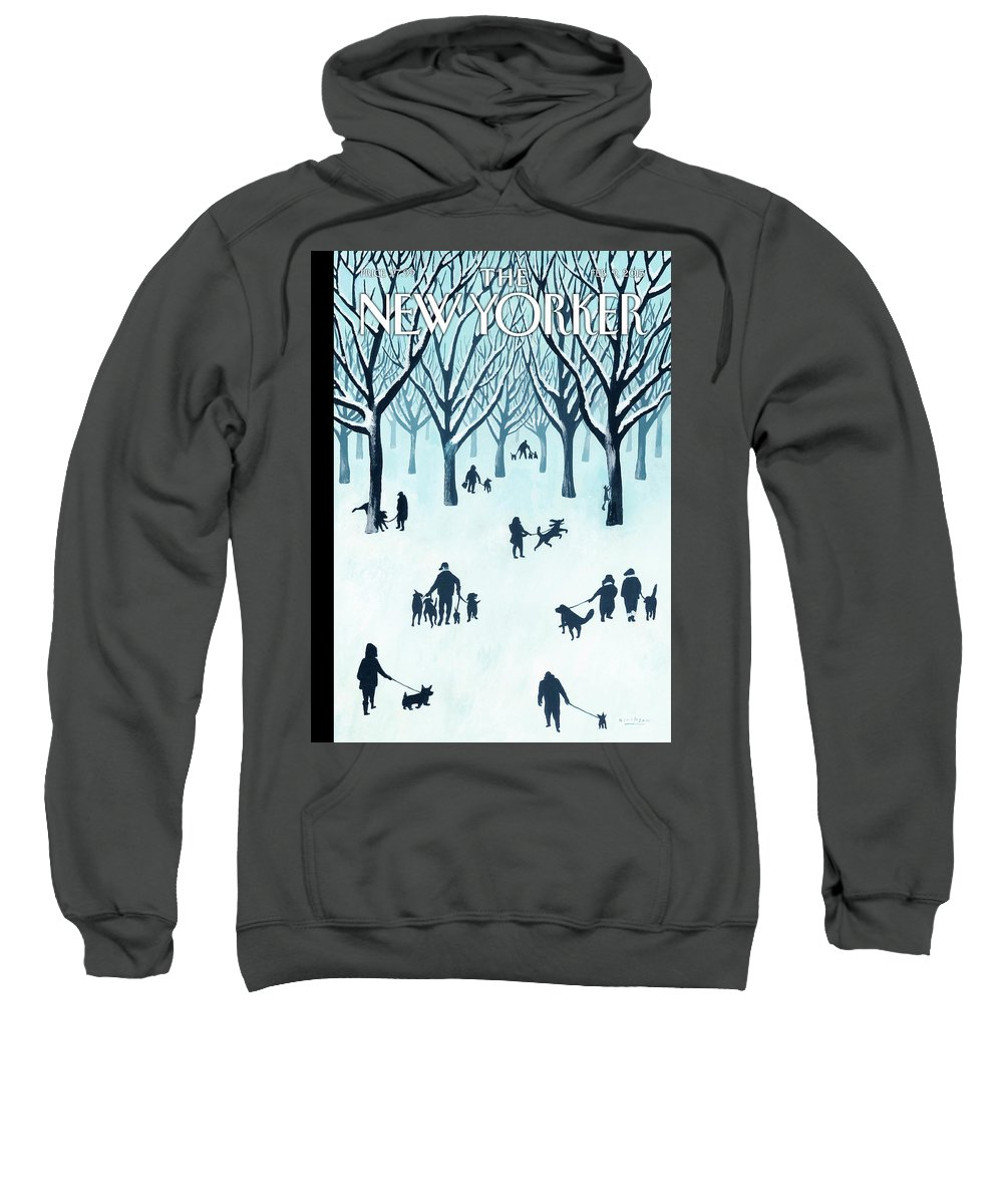 Snow Sweatshirt featuring the painting A Walk In The Snow by Mark Ulriksen