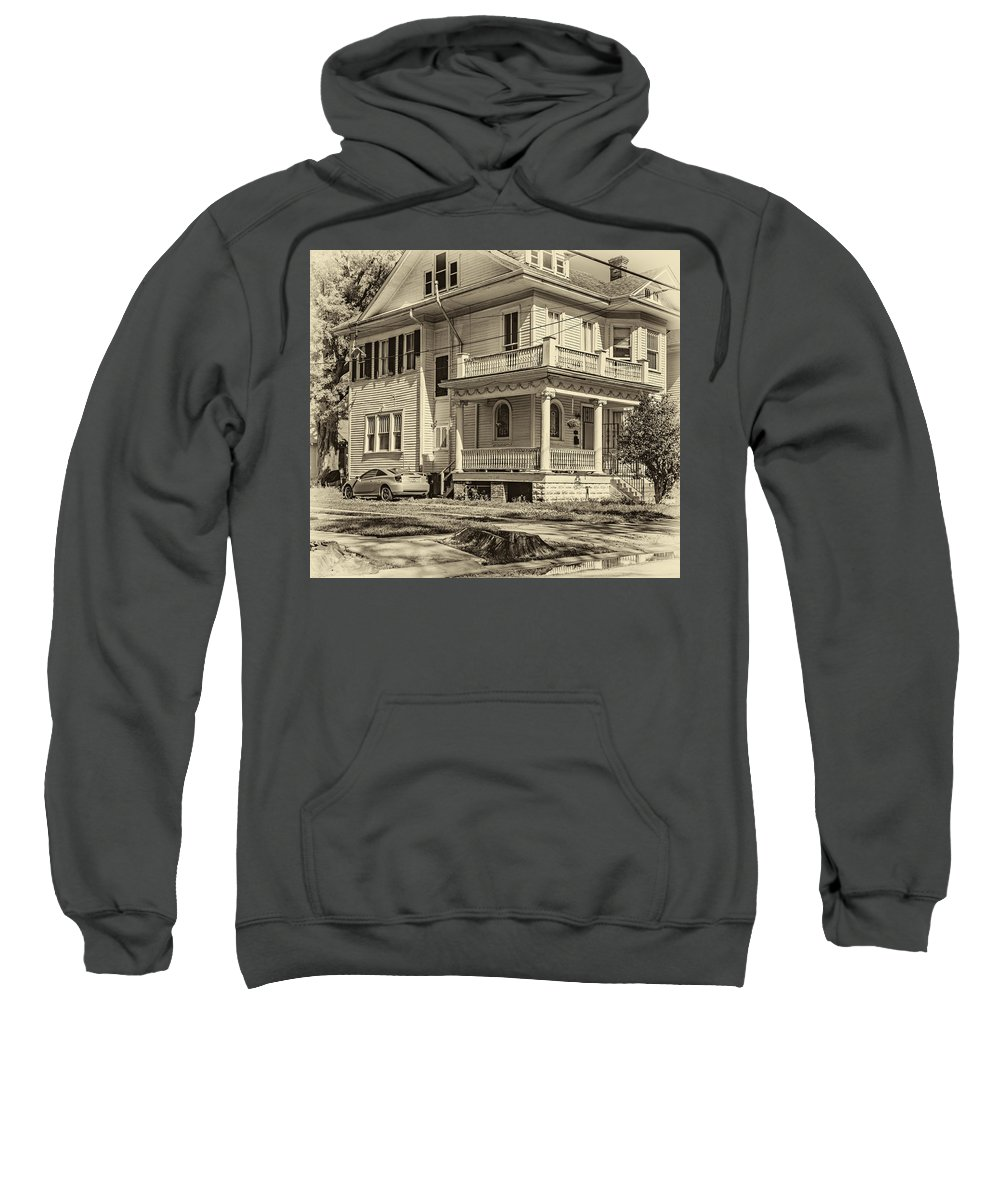 Home Sweatshirt featuring the photograph A Work In Progress Sepia by Steve Harrington