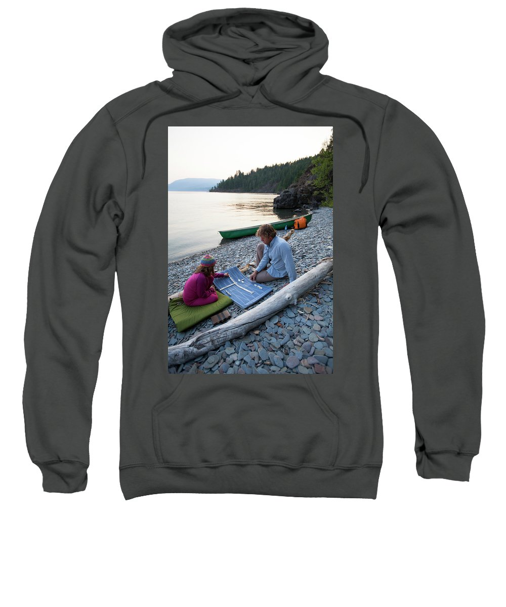 Daughter Sweatshirt featuring the photograph A Young Girl And Her Dad Enjoying Camp by Woods Wheatcroft
