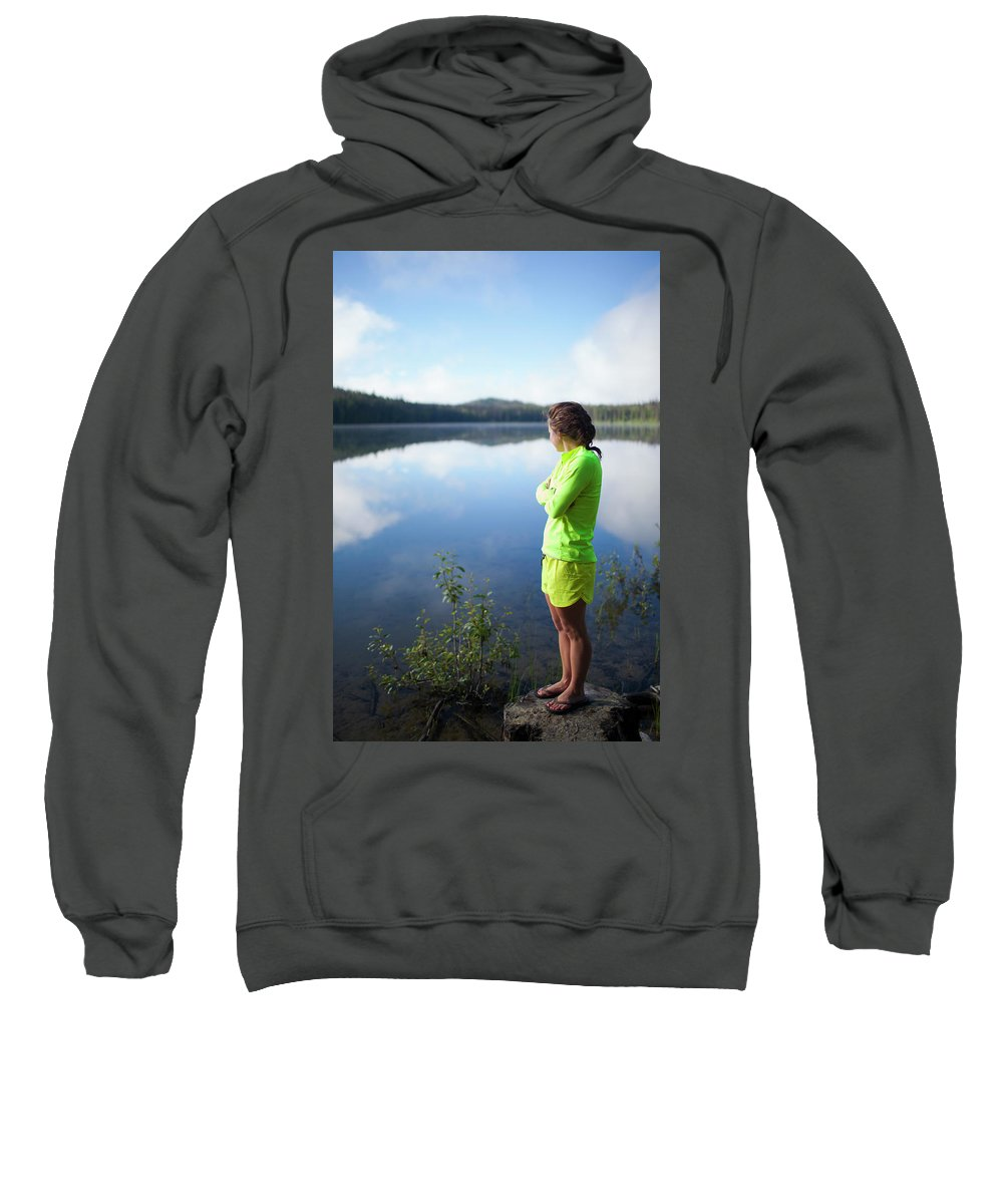 Cloud Sweatshirt featuring the photograph A Young Woman Looks Out Over Unna Lake by Christopher Kimmel