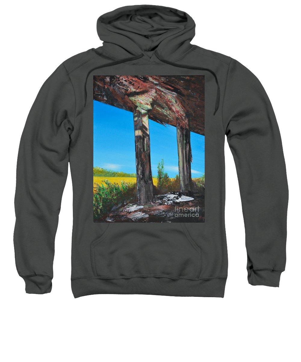 Abandoned Sweatshirt featuring the painting Abandoned by Alys Caviness-Gober
