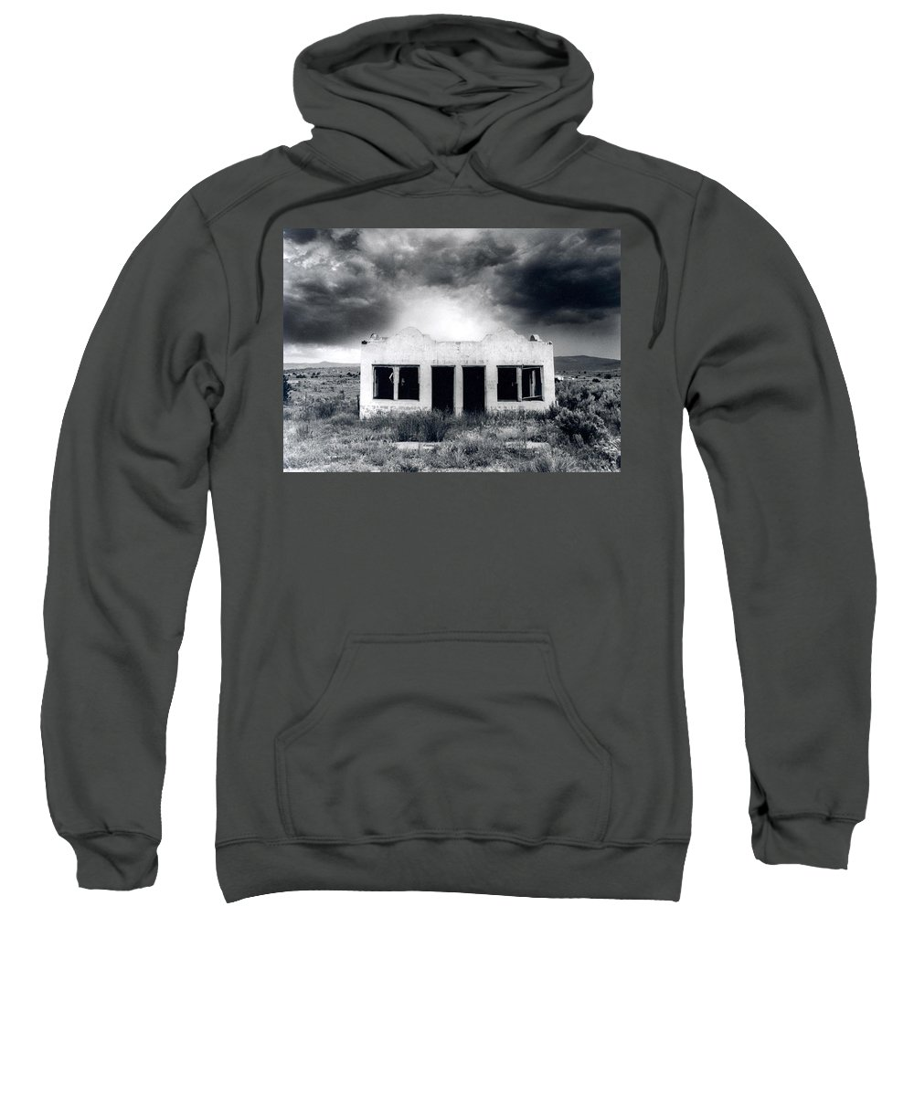 Photography Sweatshirt featuring the photograph Abandoned Gas Station In Nm by Timothy Bischoff