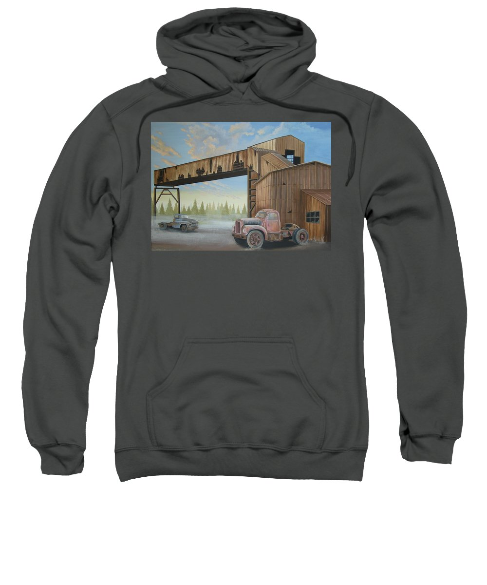 Old Truck Sweatshirt featuring the painting Abandoned Mine by Stuart Swartz