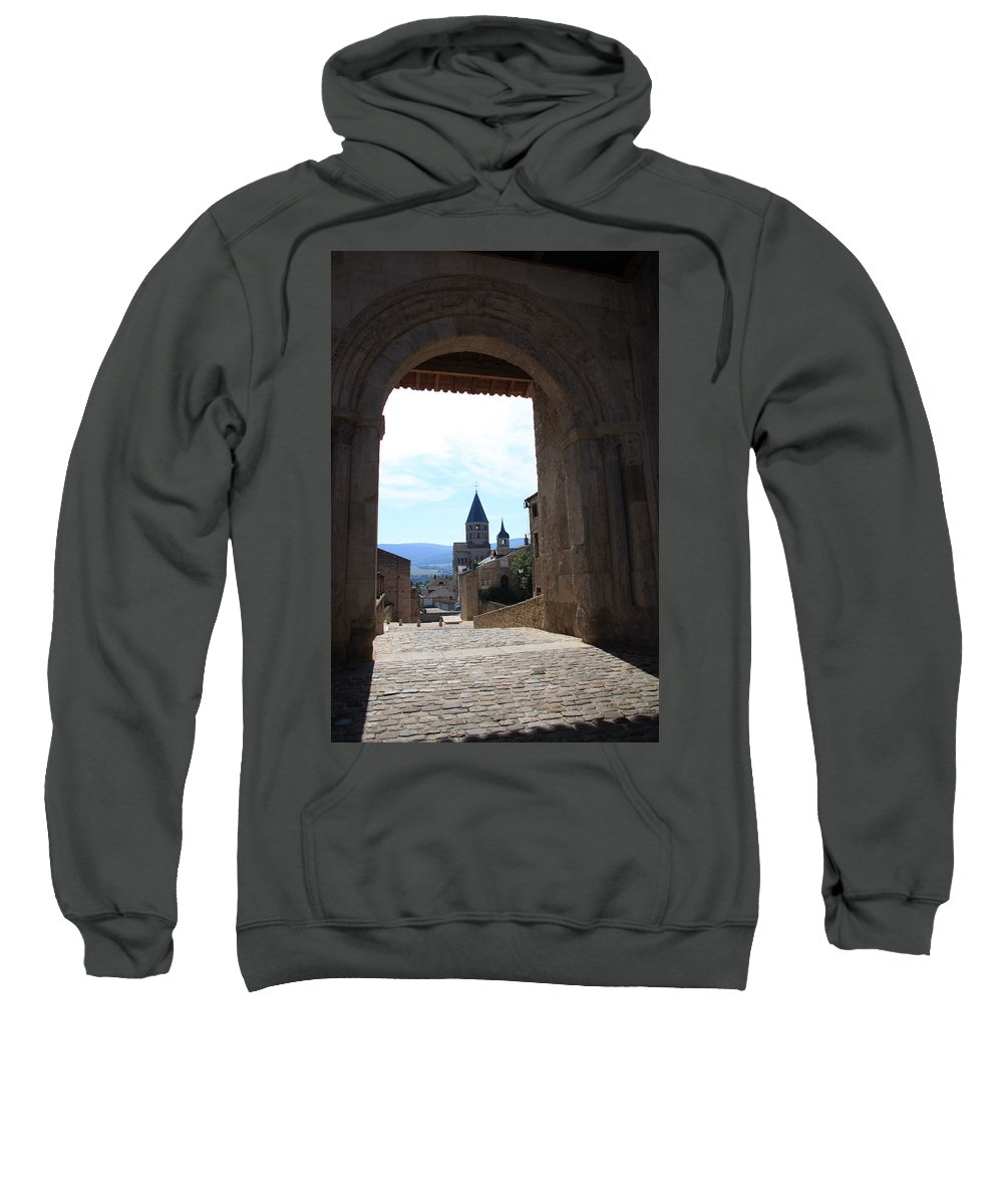 Church Sweatshirt featuring the photograph Abbey Through Doorway - Cluny by Christiane Schulze Art And Photography