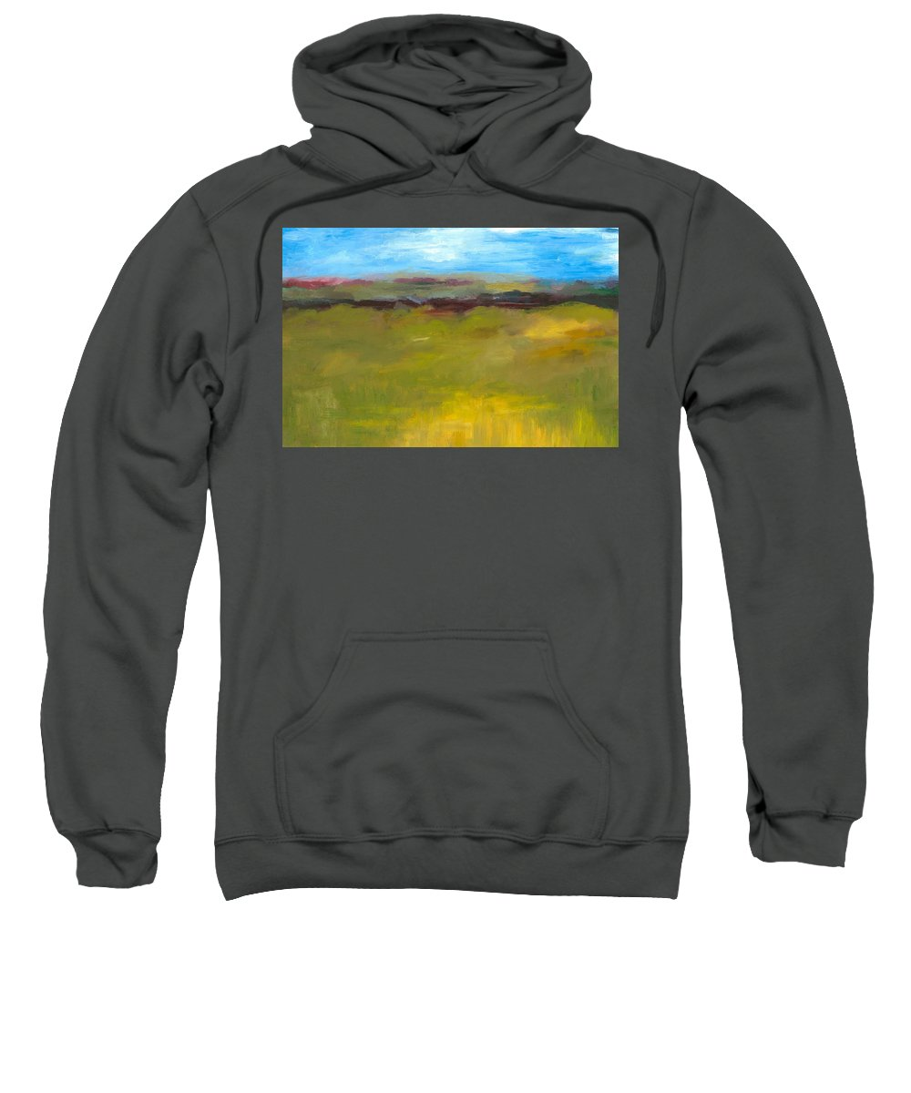 Abstract Expressionism Sweatshirt featuring the painting Abstract Landscape - The Highway Series by Michelle Calkins