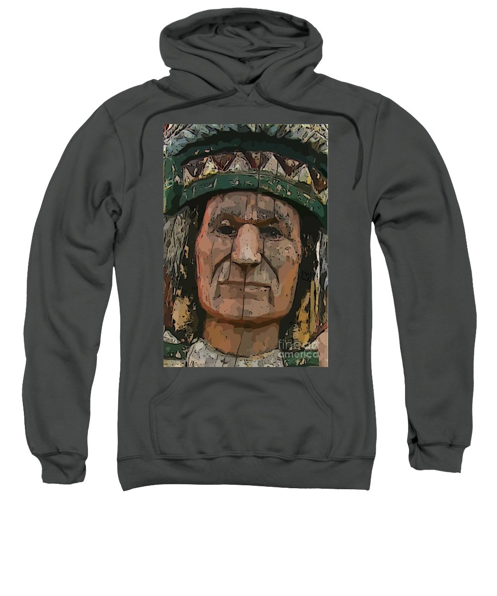 Abstract Of Wooden Indian Head Sweatshirt featuring the photograph Abstract Of Wooden Indian Head by John Malone
