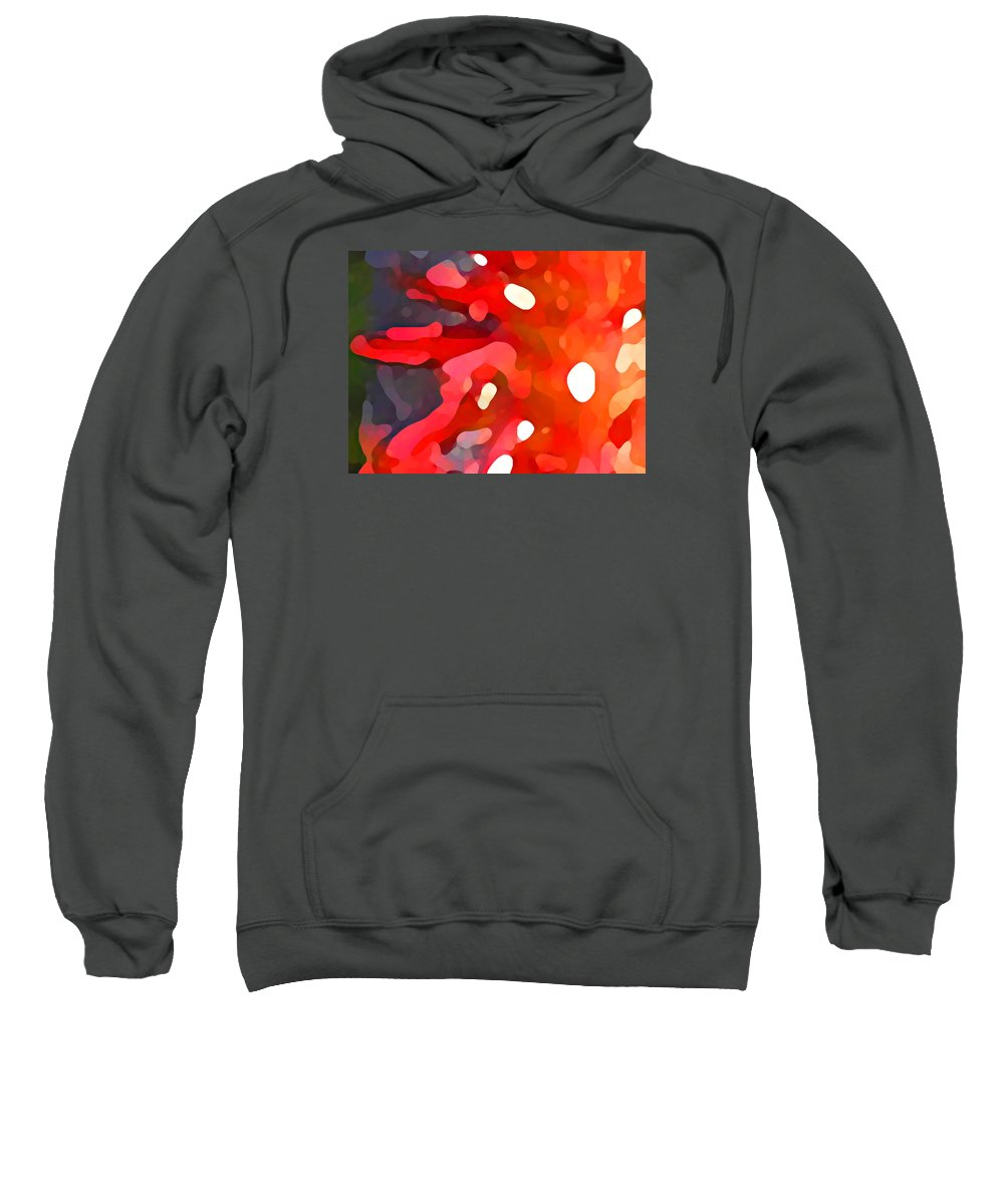 Bold Sweatshirt featuring the painting Abstract Red Sun by Amy Vangsgard