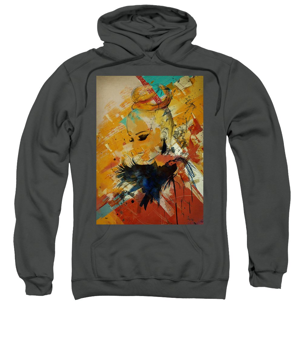 Women Sweatshirt featuring the painting Abstract Women 010 by Corporate Art Task Force