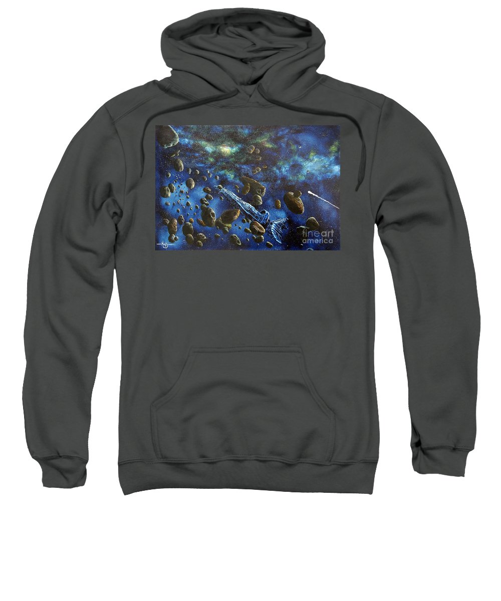 Canvas Sweatshirt featuring the painting Accidental Asteroid by Murphy Elliott