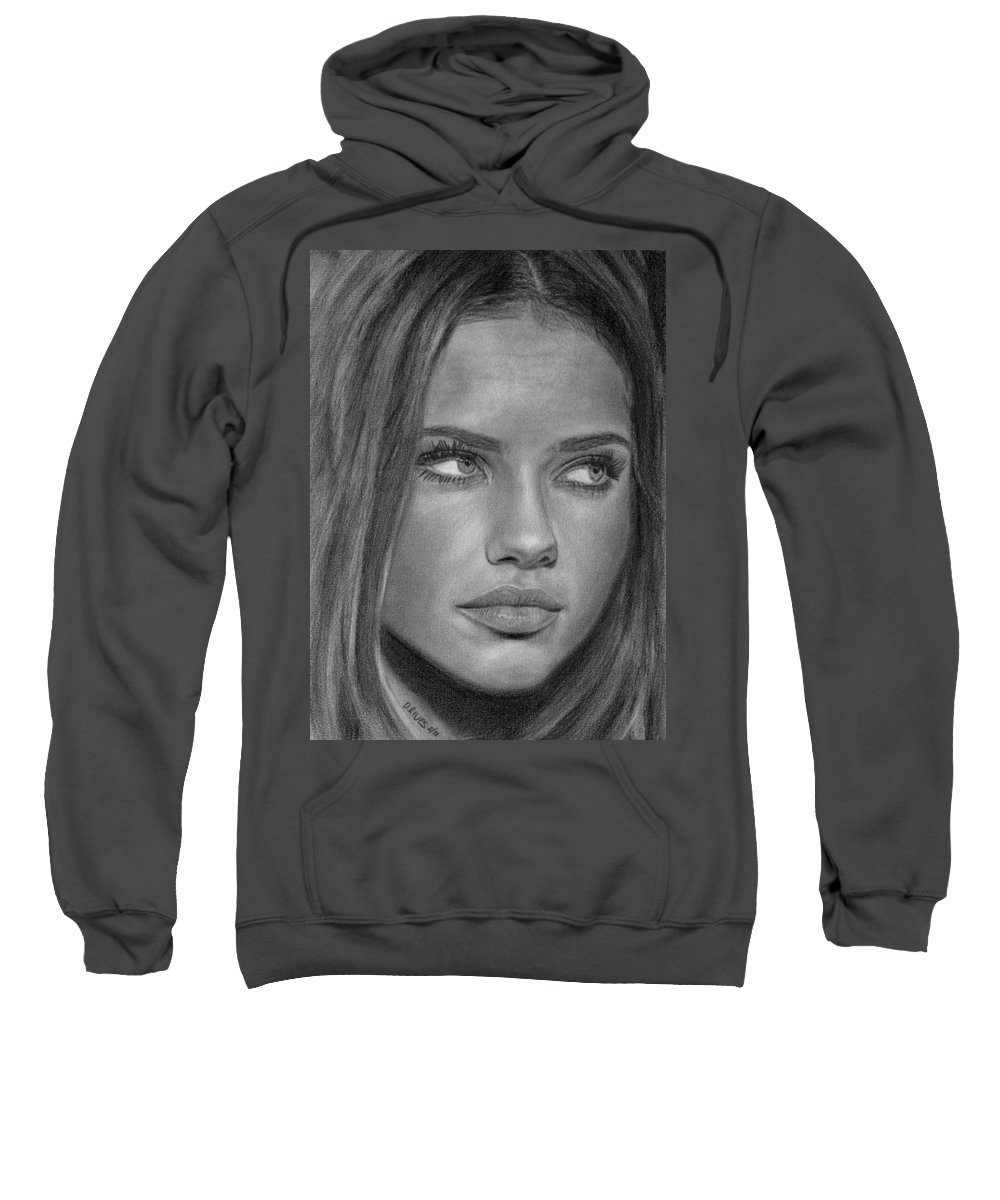 Models Sweatshirt featuring the drawing Adriana Lima 2 by David Rives