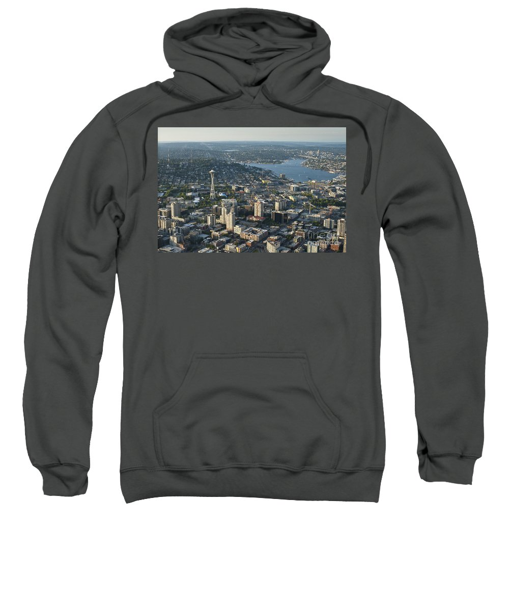 Bell Town Sweatshirt featuring the photograph Aerial Image Of The Seattle Skyline by Jim Corwin