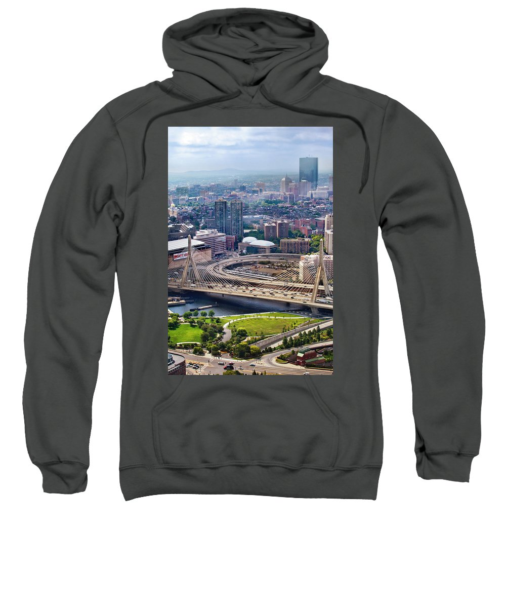 Water Sweatshirt featuring the photograph Aerial Shot Of Boston by Linked Ring Photography