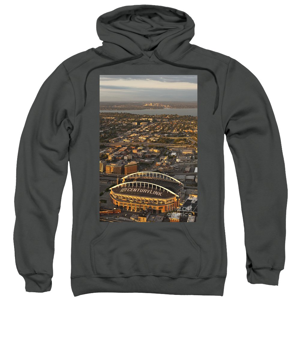 Bellevue Sweatshirt featuring the photograph Aerial View Of Bellevue Skyline And Century Link by Jim Corwin